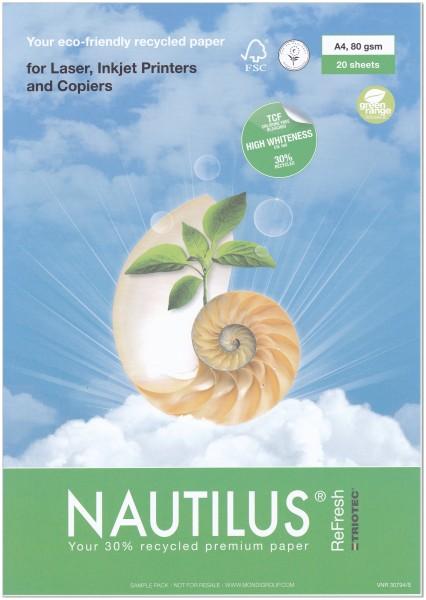 NAUTILUS ReFresh, Recyclingpapier, 80 g/m², DIN A4, weiß, 500 Blatt